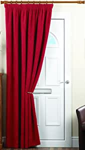 """Dreams 'n' Drapes One pair of Chenille Spot Pencil Pleat (3"""" header) Thermal Curtains in Red, Size: 66x84 (168 x 213 cm) width x drop"""
