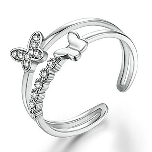 Om Jewells Rhodium Plated Fluttering Butterfly Adjustable Finger Ring with CZ Stones...