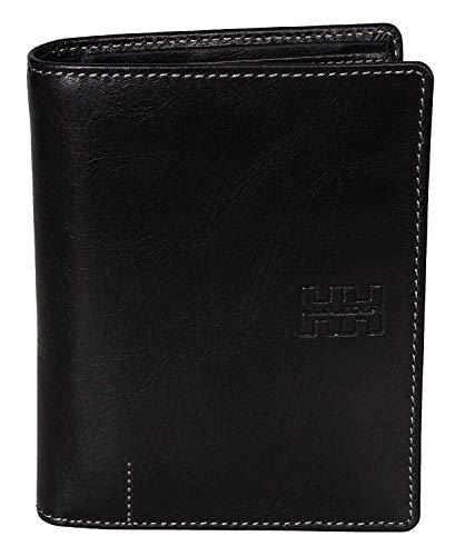 Elbleder Portemonnaie Hochformat Leder Schwarz Vintage mit RFID Schutz groß viele Fächer für Damen & Herren hochwertig Portemonnaie Geldbeutel Portmonee Portmonaise Ledergeldbeutel Ledergeldbörse