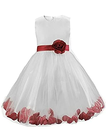 Wenseny Prom Dresses Girls 3D Flowers Beaded Rose Petals Bowknot Age 9