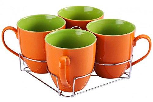 8513 5-tlg. Tassen-Set mit Ständer - Keramik - 4 Tassen - 550 ml - Teetassen - Kaffeetassen - Geschirr - Tasse - Jumbotasse - Kaffeepott - Becher-Set Orange