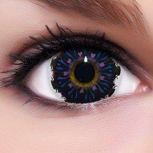 Linsenfinder Lenzera Circle Lenses lilane 'Angel Violet' ohne und mit Stärke + Kombilösung + Behälter Big Eyes farbige Kontaktlinsen