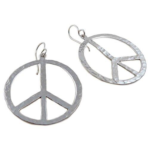 Ohrringe Peace-Zeichen 925 gehämmert Kreis