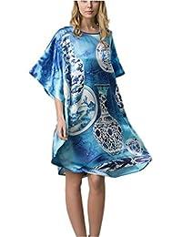 Prettystern - 100% satén de Crepe de Seda camisón de Kimono con Digitalldruck - selección