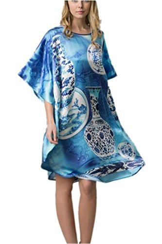 Prettystern - 100% pura seta raso crepe kimono pigiama camicia da notte lingerie lusso stampa digitale in varie fantasie YBP184 porcellana cinese