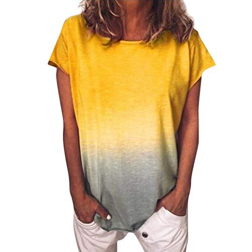84e90bc317 Kanpola Damen Druck T-Shirt Batik Gradient Bluse Kurzarm Loose Sommer Top
