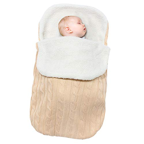 Beinou Neugeborenes Baby Gestrickt Wickeln Swaddle Decke Swaddle Samtvlies Schlafsäcke Wrap Decke Wickel Einschlagdecke für 0-12 Monat Baby Boy or girl 68 cm x 38 cm(Cremeweiß) (Neugeborene Gestrickt Boy)