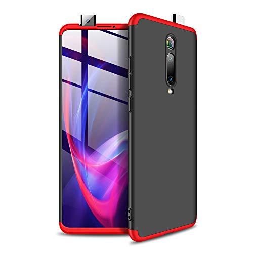 NOKOER Cover per Xiaomi Mi 9T, 3 in 1 Tutto Incluso Anti Impronta Digitale Case, Protezione a 360 Gradi [Ultrasottile] [Antiurto] Difficile Custodia per Xiaomi Mi 9T - Rosso Nero