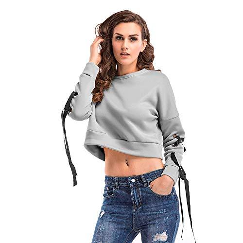NEEKY Trainingsanzug Damen Frauen 0-Neck Langarmshirts Kurze Spitze Casual Sweatshirt Pullover Solide Lose Bluse Damen Streetwear(S,Grau)