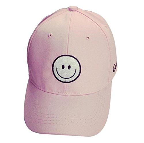 Loveso-Kappen Adult Fashion Stickerei Brief Cotton Baseballmütze Hysteresen-Kappen Hip Hop Hüte Sun Caps (Rosa(Lächeln))