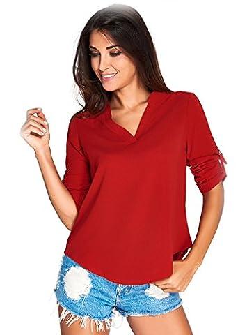 Damen V Ausschnitt Chiffon, KeepSa Sommer 3/4 Ärmel Bündchen Bluse Tops T-Shirt Shirt (Tan Perlen Set)