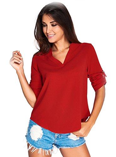 Damen V Ausschnitt Chiffon, KeepSa Sommer 3/4 Ärmel Bündchen Bluse Tops T-Shirt Shirt (Tag Design-junioren Tee)