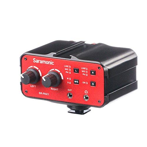 Saramonic SR-PAX1 2-Kanal-Audio-Mixer Preamp Mikrofon-Adapter mit Dual-XLR / 6,3 mm / 3,5 mm Eingänge + 3,5 mm Ausgang für Gitarre Canon Nikon Sony DSLR-Kameras Pentax Panasonic Camcorder