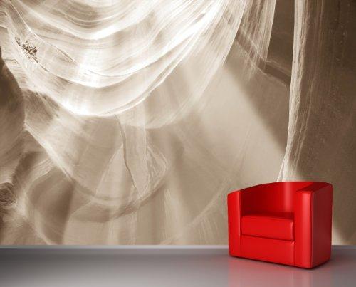 Vlies Fototapete - Antelope Canyon - Arizona USA - sephia - sepia - 200x90 cm - inklusive Kleister - Tapetenkleister – Bild auf Tapete – Bildtapete – Foto auf Tapeten – Wand – Wandtapete – Vliestapete – Wanddeko - Design (Sandstein-wand-beleuchtung)