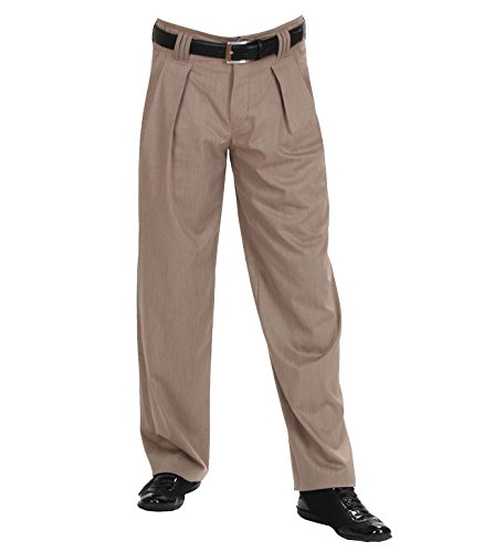 H K Mandel Bundfaltenhose Dunkelbeige meliert Hose mit Extraweit geschnittene Beine,Modell Boogie, 3017405 Größe 58