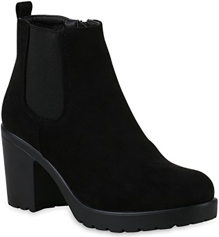 Stiefelparadies Damen Stiefeletten Chelsea Boots Flandell