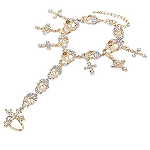 EVER FAITH® Austrian Crystal Skull Cross Halloween Hand Bracelet Chain Set Gold-Tone N01917-1