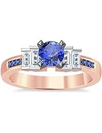 Silvernshine 1.35Ct Round & Buget Cut Tanzanite Sim Dimoands 14K Rose Gold Plated Engagement Ring