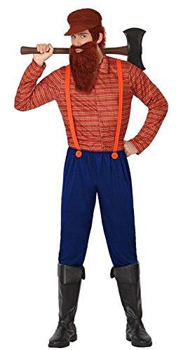Holzfäller Kostüm Herren - ATOSA 26306 Karnevalskostüm, Blau/Orange,