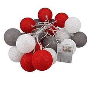 A-szcxtop Deko 20LED Baumwolle Ball Wasser-beständig Lichterkette für Party Hochzeit Szene Layout, Feier, Weihnachten Dekoration, Urlaub Festival und gewerbliche Nutzung