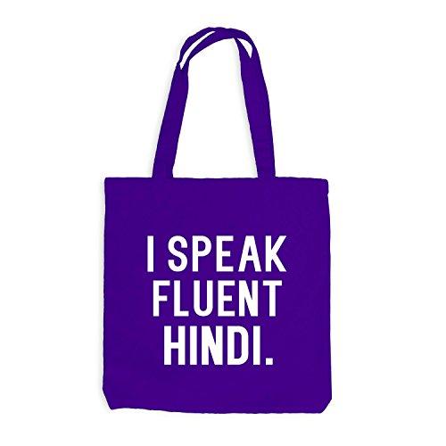 Jutebeutel - I speak fluent Hindi - Sprache Violett