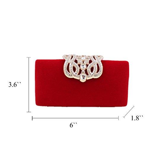 Honeymall Donna Pochette da Giorno Tracolla Corona frizione Borsa Sera Borsetta per Nozze Prom Cocktail Partito Viola Rosso