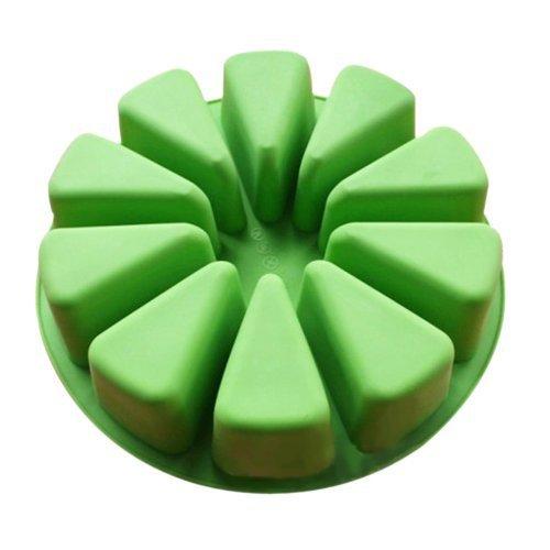 Vancgoods Große runde flexible Silikon-Kuchen-Form-Form für handgemachte DIY Seifenkuchen mit 10 Dreieck geformten Hohlraum (Dreieck-kuchen-deckel)