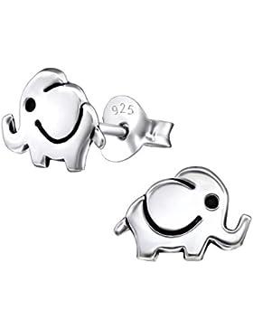 Laimons Kids Kinder-Ohrstecker Kinderschmuck Elefant oxidiert Sterling Silber 925