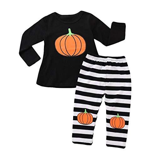 QinMM Kleinkind Baby Mädchen Kürbis Langarm Top Striped Hosen Halloween Outfits Set Kleidung Schwarz Für 12 Monate-4 Jahre (24M, Schwarz)