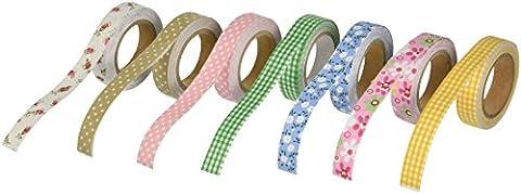 Bundle Monster Adhesive Creative Scrapbooking Craft Plaid Polka Dot Decorative D�cor Fabric Tape Mixed Lot - Set