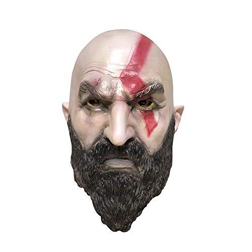 Kostüm Cosplay Kratos - Fulltime Kratos Maske Cosplay Halloween Kostüm Party Requisiten Gummi Latex Vollkopf Maske (As Shown)
