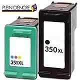 Pack 2 cartouches jet d'encre 350 XL Noire et 351 XL Couleur / Grande capacité / pour imprimante HP Deskjet D 4260 , D 4263, D 4360 HP Officejet J 5700, J 5700 series, J 5725, J 5730, J 5735, J 5738, J 5740, J 5750, J 5780, J 5783, J 5785, J 5788, J 5790, J 6400, J 6400 series, J 6405, J 6410, J 6413, J 6415, J 6424, J 6450, J 6480, J 6488 HP Photosmart C 2130, C 4200 Series, C 4250, C 4270 , C 4280 , C 4340 , C 4380 , C 4390 Wifi, C 4390 , C 4400, C 4472 , C 4480 , C 4500 serie, C 4580, C 4485 , C 4599 , C 5200 serie, C 5280 , C 5290, D 5360 HP PSC 4400, 4480, 5280 - PLEIN D'ENCRE