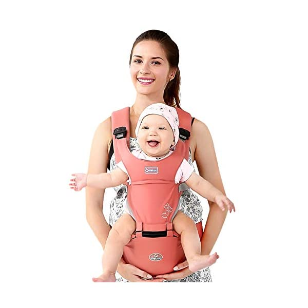 SONARIN Front Premium Hipseat Baby Carrier, Multifunctional, Ergonomic, 100% Cotton, Butterfly Rotary Buckle, 6 Carrying Positions, Adapted to Your Child's Growing,Ideal Gift(Pink) SONARIN Applicable age and Weight:3-36 months of baby, the maximum load: 20KG, and adjustable the waist size can be up to 47.2 inches (about 120cm). Material:designers choose comfortable and soft 100% cotton fabric, soft color, breathable, no irritation to the baby's skin. Baby carrier also designed anti-friction legs cushion, prevent the carrier to hurt the baby, to the baby comfortable and enjoyable. Description: patented design of the auxiliary spine micro-C structure and leg opening design, natural M-type sitting. Widen the shoulder strap and belt will be effective to disperse the baby's weight to the shoulder and waist, so that mother more effort. EPP seat core, no deformation, baby sitting more comfortable. 3