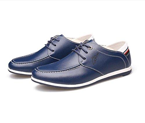 GRRONG Herrenlederschuhe Freizeit Mode Schwarz Braun Blau Blue