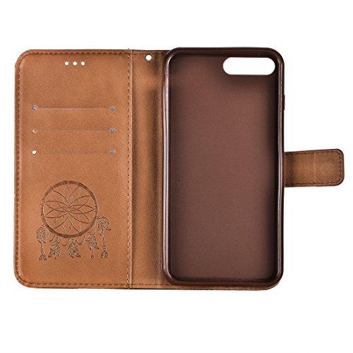 Buona Casa- Per iPhone 7 Plus Crazy Horse Texture Sogno Catcher Stampa Cassa Orizzontale Flip in pelle con supporto e slot per carte e portafoglio e cordino ( Color : Brown ) Brown