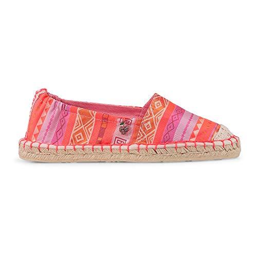 Cox Damen Damen Fashion-Espadrille aus Textil im Ethno-Look, modischer Slipper mit Bast-Außensohle in Rot Rosa Textil 38