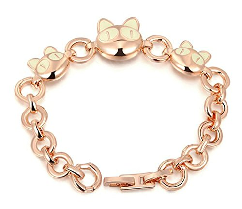 Epink Mode-Schmuck, Damen Armb?nders Vergoldet Rose Gold Katze Kopf Cut 18.1*1.7Cm