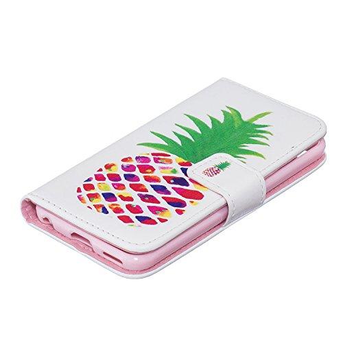 Coque pour iPhone iPod Touch 5, Etui pour iPod Touch 6, ISAKEN Peinture Style Soulagement de la couleur PU Cuir Flip Magnétique Portefeuille Etui Housse de Protection Coque Étui Case Cover avec Stand  Ananas