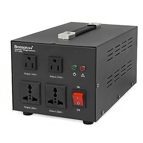 Bronson++ AVT 2000 - 110 / 120 Volts Transformateur USA Convertisseur de Tension - 2000 Watts - Augmentation / Diminution Noyau Torique - Bronson 110V 120V 2000W