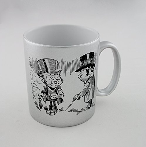 Silver mug with Two man in Top (Top Hats Silver)