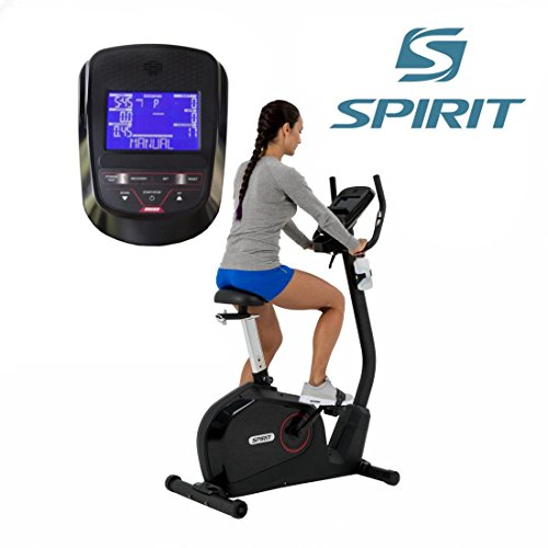 Spirit Upright Bike DBU 60 - Heimtrainer, Fitness Indoor Bike, Ergometer mit Hand-Puls-Sensoren
