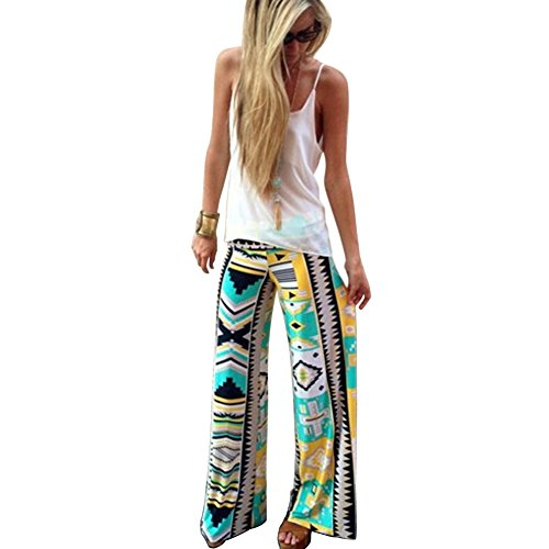 High Waist Aztec Pattern Wide Palazzo Trousers. Sizes S to XL