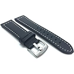 28mm Black Racer White Stitching, Genuine Leather Watch Strap Band, Stainless Steel Buckle, NEW!
