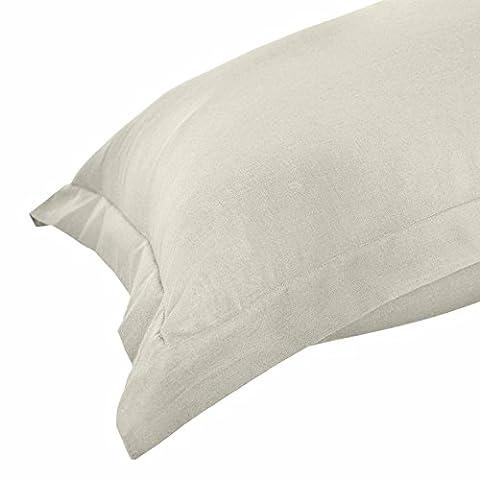 Homescapes Organic Cotton Cream Oxford Pillowcase 400 Thread Count Percale Hypoallergenic Bedding