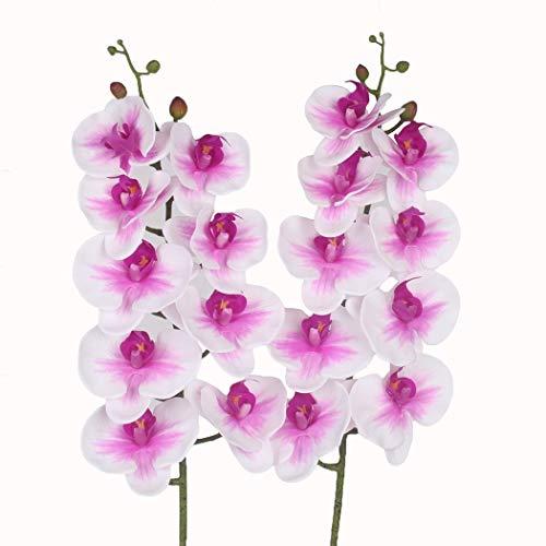 Takestop® ramo orchidea phalaenopsis artificiale finto rametto fiori chiusi decorazioni composizioni floreale matrimonio cimitero funerale (bianco/fucsia)