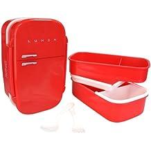 Mustard - Fiambrera hermética en forma de nevera vintage con 3 compartimentos, bento box de almuerzo, color rojo