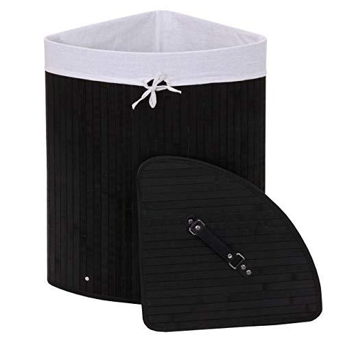 Mendler Eckwäschekorb HWC-C21, Laundry Wäschebox Wäschesammler Wäschebehälter, Bambus 61x48x35cm 50l ~ schwarz