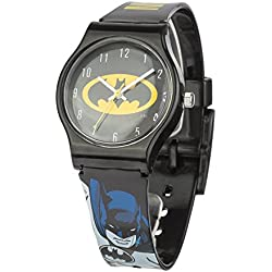 Batman Unisex Quartz Analogue Display Watch with Black Dial and Black Plastic Strap BAT5DC
