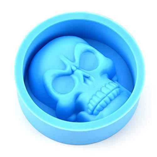 Jiali Große Eiswürfelform Pudding-Form 3D Totenkopf Silikon Form DIY Eismaschine Haushalt Küche Zubehör blau