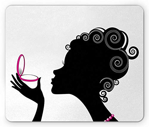 Makeup Mouse Pad, Silhouette of a Woman Portrait with Powder Compact Swirled Hair Pattern, Standard Size Rectangle Non-Slip Rubber Mousepad, Black Pink and White - Womens Compact